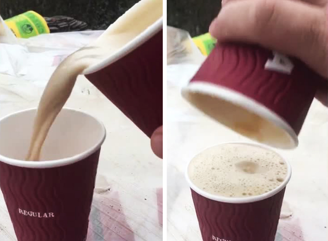 Outrage as video shows a large costa coffee fitting into a regular cup