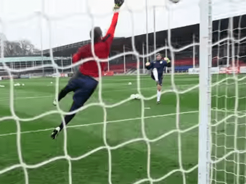 Jack Butland, Fraser Forster and Tom Heaton put through their paces during England training