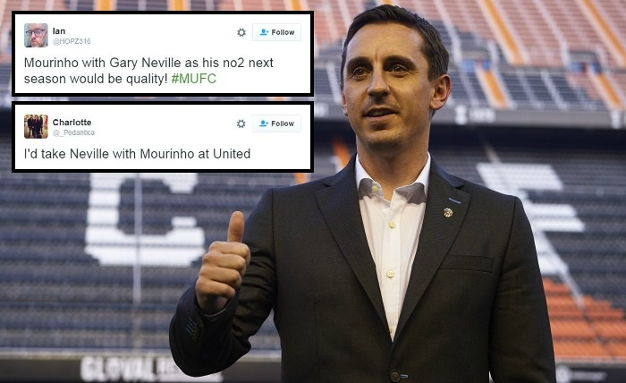 Manchester United fans want Gary Neville – not Ryan Giggs – as Jose Mourinho's assistant manager