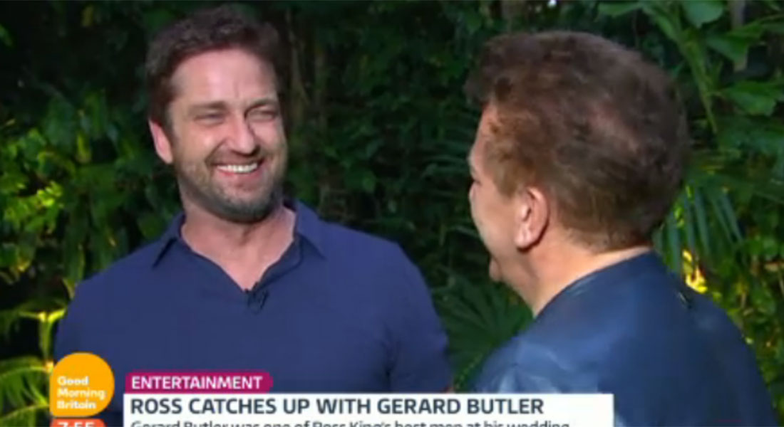 Here's the moment actor Gerard Butler punched Good Morning Britain's Ross King mid-interview