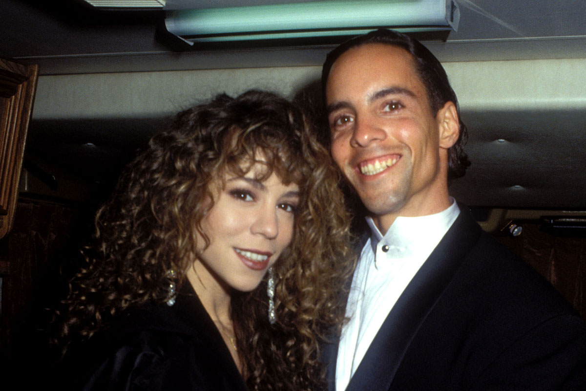 Mariah Carey and brother Morgan Carey during American Music Awards - Backstage Dressing Room at Shrine Auditorium in Los Angeles, California, United States. (Photo by Barry King/WireImage)