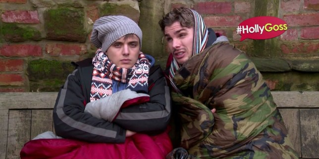 Hard times: Ste and Harry are going to be living on the streets (Picture: Hollyoaks Twitter)