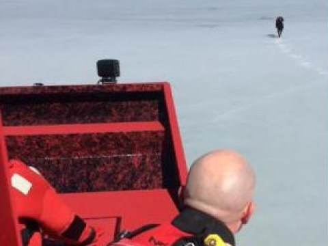 Dog dramatically rescued after becoming stuck on frozen lake for five days