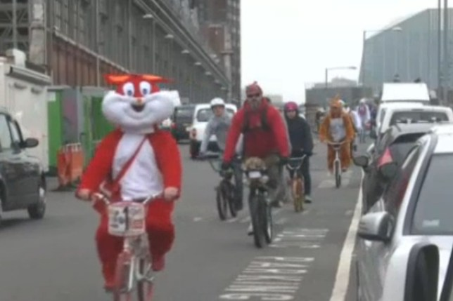 Easter bunnies on BMX bikes