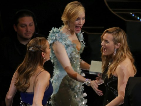 Did Kate Winslet share some baby news with Cate Blanchett and Brie Larson at the Oscars?