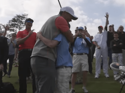 Tiger Woods watches kid hit hole-in-one with first shot ever on his golf course