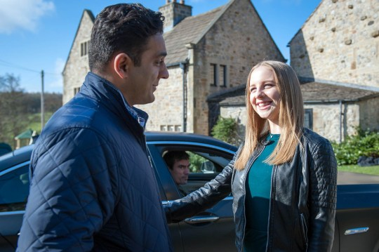 FROM ITV STRICT EMBARGO - No Use Before Sunday 24 April 2016 Emmerdale - Ep 7496 Friday 6 May 2016 Cain Dingle [JEFF HORDLEY] glowers to see Belle Dingle [EDEN TAYLOR-DRAPER] with Rakesh Kotecha [PASHA BOCARIE] - knowing she is dating a married man. Could Cain get the wrong idea? Picture contact: david.crook@itv.com on 0161 952 6214 Photographer - Andrew Boyce This photograph is (C) ITV Plc and can only be reproduced for editorial purposes directly in connection with the programme or event mentioned above, or ITV plc. Once made available by ITV plc Picture Desk, this photograph can be reproduced once only up until the transmission [TX] date and no reproduction fee will be charged. Any subsequent usage may incur a fee. This photograph must not be manipulated [excluding basic cropping] in a manner which alters the visual appearance of the person photographed deemed detrimental or inappropriate by ITV plc Picture Desk. This photograph must not be syndicated to any other company, publication or website, or permanently archived, without the express written permission of ITV Plc Picture Desk. Full Terms and conditions are available on the website www.itvpictur
