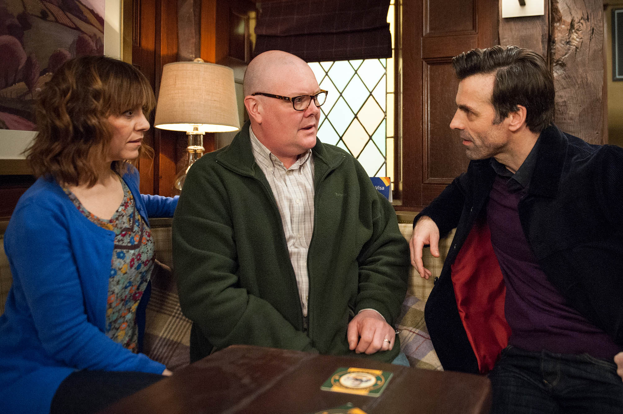 FROM ITV STRICT EMBARGO - No Use Before Tuesday 15 March 2016 Emmerdale - Ep 7456 Tuesday 22 March 2016 Paddy Kirk [DOMINIC BRUNT and Rhona Goskirk [ZOE HENRY] are both pleased to be making some progress as they agree to meet for lunch. Paddy's positive as he suggests they go away to Paris for the weekend, but the moment's ruined when Pierce [JONATHAN WRATHER] turns up, asking if Tess was having an affair. He tells them he's found Tess' second phone and Paddy's horrified when Rhona agrees to talk with him tomorrow Picture contact: david.crook@itv.com on 0161 952 6214 Photographer - Andrew Boyce This photograph is (C) ITV Plc and can only be reproduced for editorial purposes directly in connection with the programme or event mentioned above, or ITV plc. Once made available by ITV plc Picture Desk, this photograph can be reproduced once only up until the transmission [TX] date and no reproduction fee will be charged. Any subsequent usage may incur a fee. This photograph must not be manipulated [excluding basic cropping] in a manner which alters the visual appearance of the person photographed deemed detrimental or inappropriate by ITV plc Picture Desk. This photograph must not be syndicated to any other company, publication or website, or permanently archived, without the express written permission of ITV Plc Picture Desk. Full Terms and conditions are available on the website www.itvpictur