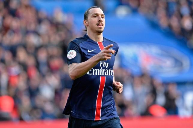 PARIS, FRANCE - APRIL 16: Zlatan Ibrahimovic of Paris Saint-Germain reacts after scoring during the Ligue 1 game between Paris Saint-Germain and SM Caen at Parc des Princes on April 16, 2016 in Paris, France. (Photo by Aurelien Meunier/Getty Images)