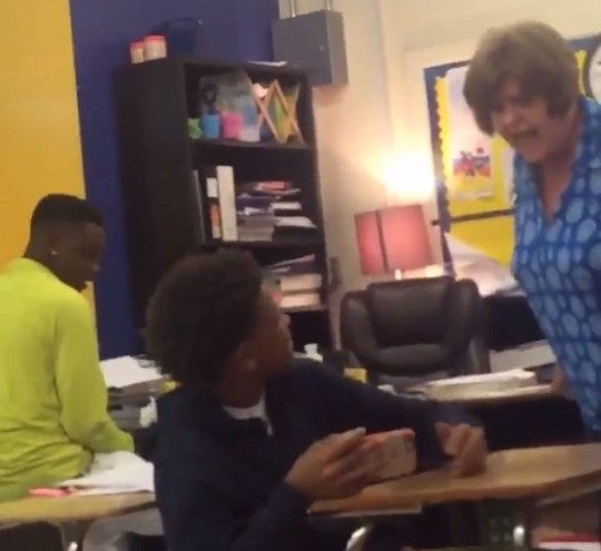 A high school math teacher is facing an assault charge after video surfaced of her hitting a student at least five times in class. CBS affiliate KFDM reported Mary A. Hastings, a 63-year-old geometry teacher at Ozen High School, was arrested and has been placed on paid leave. The cellphone video, recorded by a classmate, shows Hastings swiping papers off the student's desk then slapping him five times.