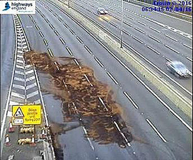 BEST QUALITY AVAILABLE Undated handout photo issued by Highways England of a fuel spillage on the M1 motorway which has been closed after the incident. PRESS ASSOCIATION Photo. Issue date: Saturday April 2, 2016. A crash, on the northbound carriageway between junction J11 and J12 in Bedfordshire, resulted in three minor injuries and a spillage of approximately 800 litres of diesel from the lorry. See PA story TRANSPORT Diesel. Photo credit should read: Highways England/PA Wire NOTE TO EDITORS: This handout photo may only be used in for editorial reporting purposes for the contemporaneous illustration of events, things or the people in the image or facts mentioned in the caption. Reuse of the picture may require further permission from the copyright holder.