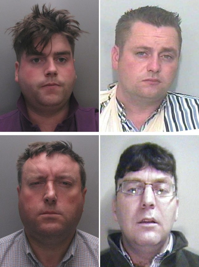 Undated handout photo issued by Durham Police of (top row left to right) John 'Kerry' O'Brien Jr and Richard 'Kerry' O'Brien, (bottom row left to right bottom) Michael Hegarty and Daniel 'Turkey' O'Brien. More than a dozen members of an organised crime gang are due to be sentenced today after plotting to steal rhino horn and Chinese artefacts worth up to £57 million in a series of museum raids. PRESS ASSOCIATION Photo. Issue date: Monday April 4, 2016. The gang, dubbed the Rathkeale Rovers, as eight of the men had links to the town in Ireland, organised break-ins at museums including Cambridge's Fitzwilliam Museum and Durham's Oriental Museum in 2012 See PA story COURTS Rhino. Photo credit should read: Durham Police/PA Wire NOTE TO EDITORS: This handout photo may only be used in for editorial reporting purposes for the contemporaneous illustration of events, things or the people in the image or facts mentioned in the caption. Reuse of the picture may require further permission from the copyright holder.