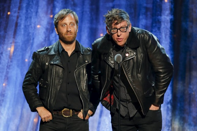 Singers Dan Aurerbach (L) and Patrick Carney of The Black Keys induct Steve Miller onstage at the 31st Annual Rock And Roll Hall Of Fame Induction Ceremony at the Barclays Center in Brooklyn, New York April 8, 2016. REUTERS/Eduardo Munoz