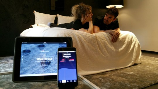 """This """"smart"""" mattress promises to tell if your partner is cheating. The """"Smarttress"""" - the brainchild of Spanish company Durmet - looks like a normal mattress. But it is loaded with 24 hidden ultrasonic sensors to monitor """"excessive"""" movement and pressure. The so-called """"lover detection system"""" then warns the owner of the mattress via a smartphone app that reports the movement on a 3D map. The """"Smarttress"""" is priced at about #1,200 GBP pounds [$1700 USD]. Ivan Miranda, an engineer who worked on the mattress, said: """"When the mattress detects suspicious activity, the communication system begins to send information to a server that processes it. """"If it detects suspicious activity regarding time of use, frequency, intensity or speed, it sends a notification to the terminal with which it is linked."""" Jose Antonio MuÌÒo, a spokesman for Durmet said: """"Smarttress combines technology and comfort. That was a priority. But after reading studies on infidelity in Spain, we came up with the idea which could reassure men and women not only during the night but also during the day when they leave for work."""" More than a third (39 per cent) of Spaniards have admitted to having an affair, according to a 2014 survey. <P> Pictured: The Smarttress <B>Ref: SPL1264911 150416 </B><BR /> Picture by: Splash/Smarttress.com<BR /> </P><P> <B>Splash News and Pictures</B><BR /> Los Angeles: 310-821-2666<BR /> New York: 212-619-2666<BR /> London: 870-934-2666<BR /> photodesk@splashnews.com<BR /> </P>"""