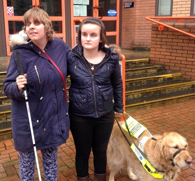 Jade Sharp (R) with dog Brodie. See National News stroy NNUBER; A campaigning blind woman is leading a crusade against Uber drivers who refuse her a fare because she has a guide dog. Jade Sharp, 23, started her fight after getting fed up with drivers from the private taxi firm refusing to take her golden retriever Brodie. She successfully got Mohamed Mohamoud, 51, convicted and landed with a £1,550 bill at Hammersmith Magistrates' Court on Friday.He is one of eight Uber drivers Transport for London (TfL) have brought cases against on Jade's evidence, four of which have already been found guilty.