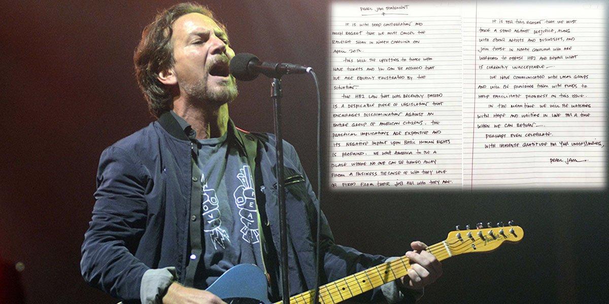 Pearl Jam cancel concert in North Carolina over controversial anti-gay 'bathroom law'