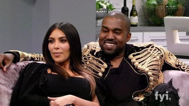 Kim Kardashian and Kanye West appear on the season finale of Kocktails with Khloe. FYI/XPOSUREPHOTOS.COM