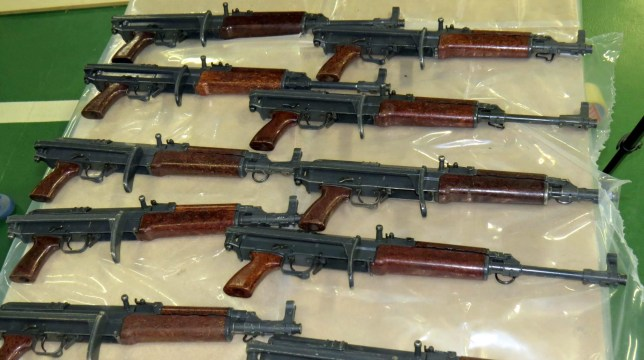 Seized assault rifles. Two men who bragged that they were ìofficially gangstersî after smuggling assault rifles and submachine guns to the UK have been convicted by a jury at the Old Bailey. See NATIONAL story NNGUNS. Harry Shilling and Michael Defraine exchanged messages stating that they were ìarmed to the teethî after hearing that the boat they used to bring the weapons to the UK had arrived in Kent. They did not know that the cache had been under surveillance for days and was about to be seized by armed officers from the NCA and Kent Police. The haul of guns included 22 Czech VZ-58 assault rifles, similar in type to the AK-47, and nine Skorpion machine pistols, along with 58 magazines and more than a thousand rounds of ammunition. The NCA believes it to be the largest seizure of automatic weapons ever made on the UK mainland. Shilling and Defraine were found guilty of importation and firearms offences following a six week trial at the Old Bailey. In the dock alongside them were John Smale and Jennifer Arthy, who were both found not guilty of importation of firearms and conspiracy to possess firearms with intent to endanger life. Three other men, including David Payne who sailed the boat carrying the guns, had already pleaded guilty. All seven will be sentenced on 13 May 2016.