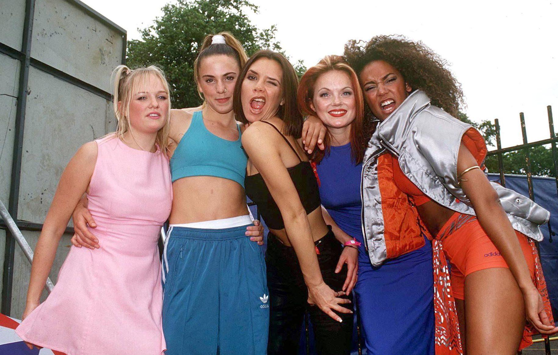 Mandatory Credit: Photo by Stephen Sweet/REX/Shutterstock (261364i) The Spice Girls - Emma Bunton, Mel C, Victoria Adams, Geri Halliwell and Mel B Capital Radio Summer Jam, Clapham Common, London, Britain - 1996