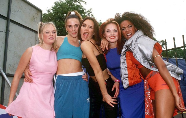 Mandatory Credit: Photo by Stephen Sweet/REX/Shutterstock (261364i) The Spice Girls - Emma Bunton, Mel C, Victoria Adams, Geri Halliwell and Mel B Capital Radio Summer Jam, Clapham Common, London, Britain - 1996