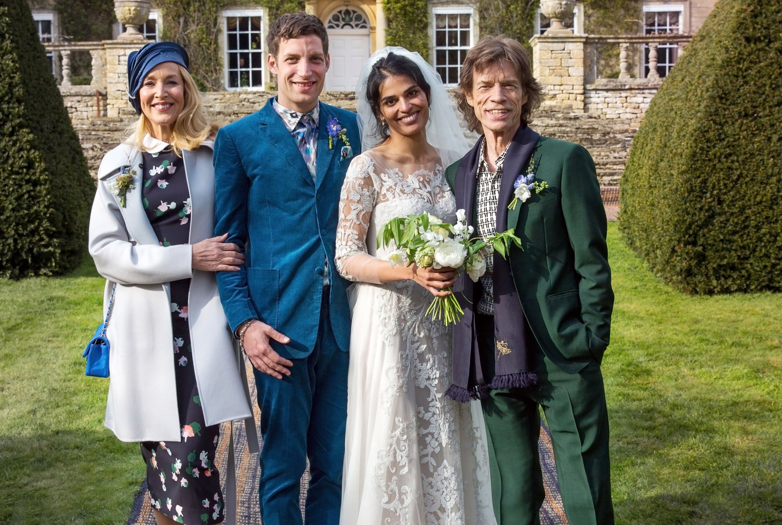 Jerry Hall and ex Mick Jagger reunite at son's wedding party after model's own union with Rupert Murdoch