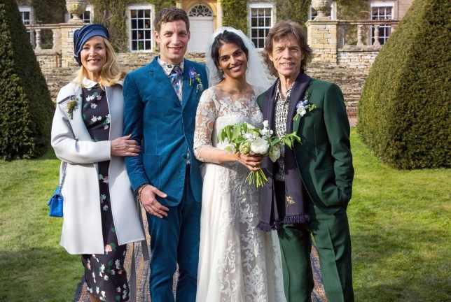 Handout photo issued by LD PR of James Jagger and his wife Anoushka Sharma (centre) with Jerry Hall (left) and Mick Jagger (right) at their wedding celebration at Cornwell Manor, Chipping Norton, Oxfordshire. PRESS ASSOCIATION Photo. Picture date: Saturday April 23, 2016. James Jagger, 30, is reported to have married Sharma in a low-key ceremony in upstate New York last September. The younger Jagger is said to prefer a private life, but the profile of the musician turned actor has risen considerably since he signed on for HBO drama Vinyl. See PA story SHOWBIZ Jagger. Photo credit should read: Benjamin Eagle/PA Wire NOTE TO EDITORS: This handout photo may only be used in for editorial reporting purposes for the contemporaneous illustration of events, things or the people in the image or facts mentioned in the caption. Reuse of the picture may require further permission from the copyright holder.
