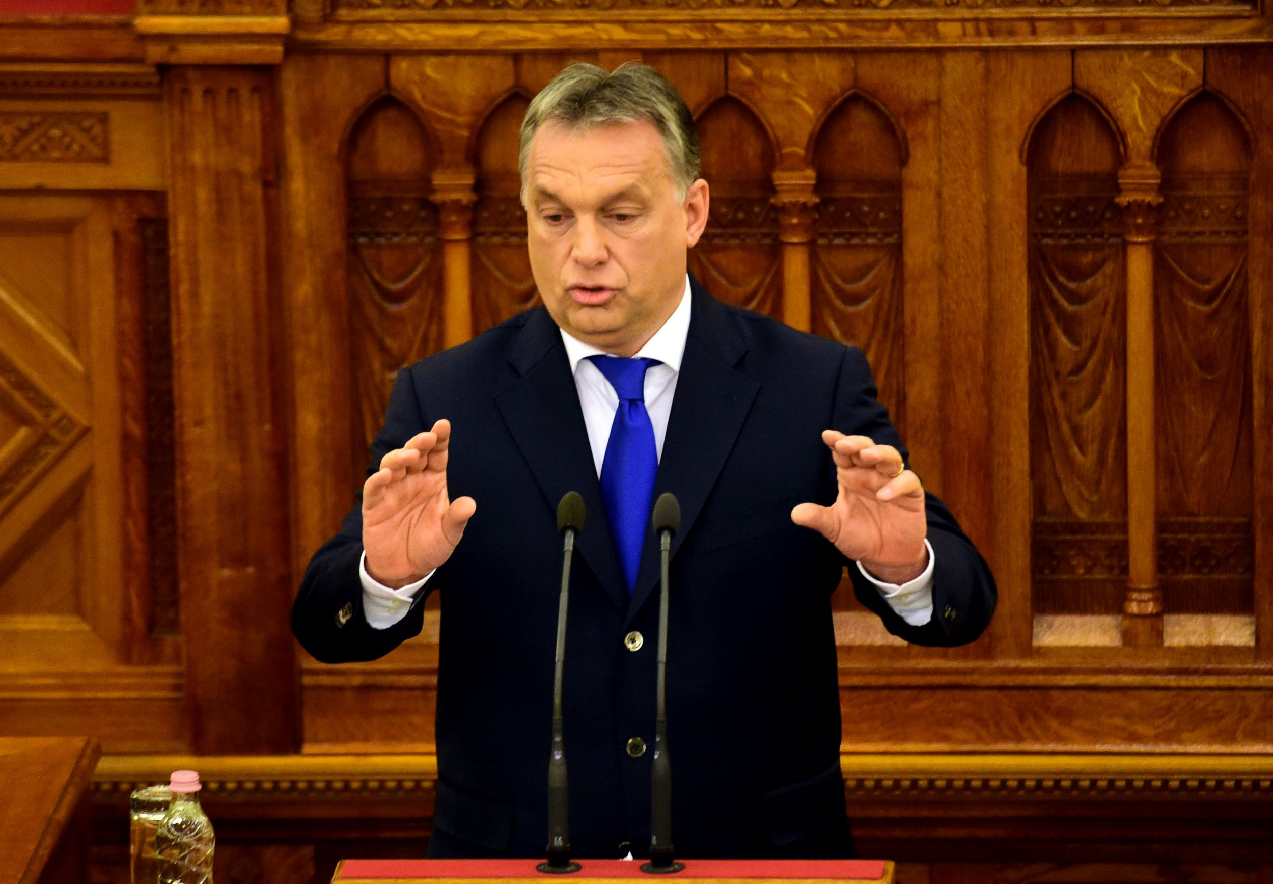 Hungarian Prime Mnister Viktor Orban holds a speech at the Parliament in Budapest, Hungary, on April 25, 2016. Hungary celebrates the 5th anniversary of the new Hungarian constitution. Over the past years, the Hungarian fundamental law has been criticized by several politicians and members of European Union. / AFP PHOTO / ATTILA KISBENEDEKATTILA KISBENEDEK/AFP/Getty Images