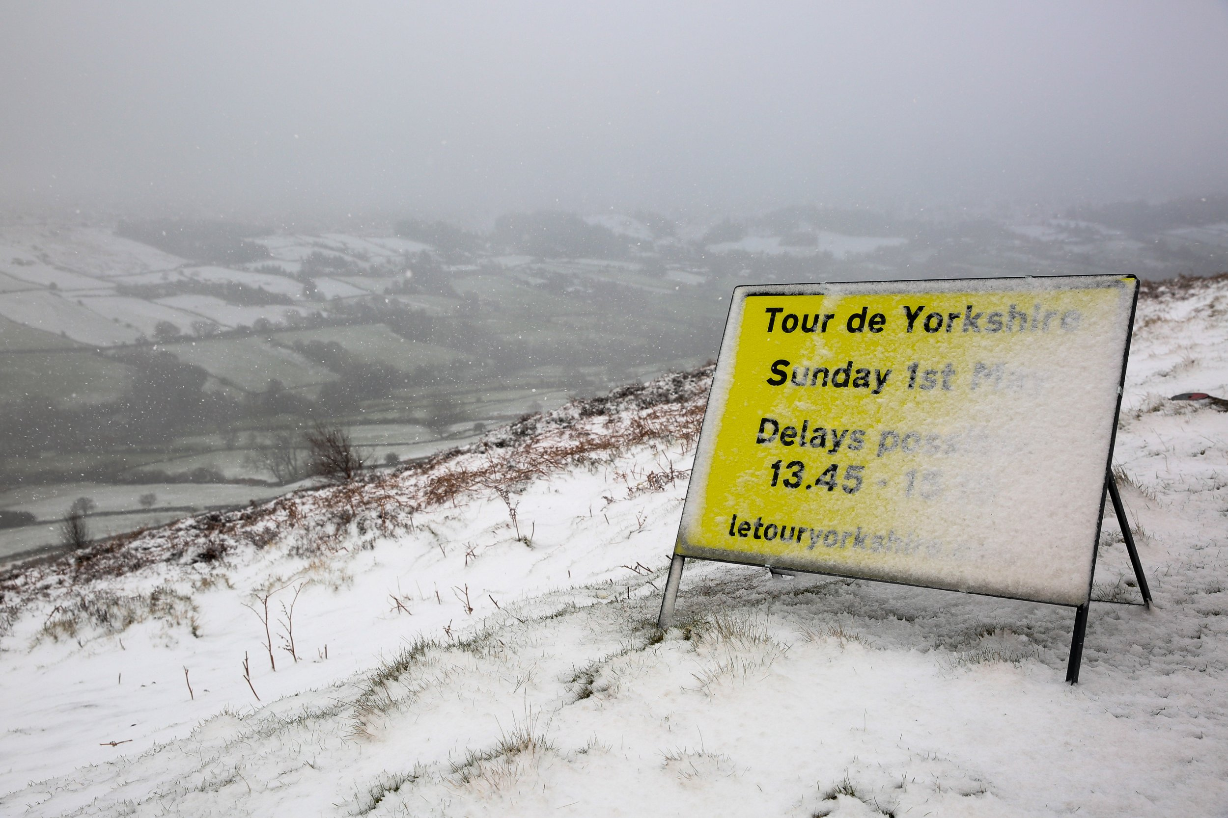 Tour de Yorkshire route covered in snow just THREE days ahead of event