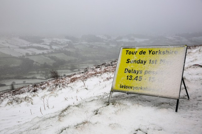 The moorland roads between Castleton and Rosedale in North Yorks are covered in snow this morning as temperatures plummeted to 1 degrees, the roads make up part of the Tour de Yorkshire cycle race route which is taking place this weekend. April 26 2016