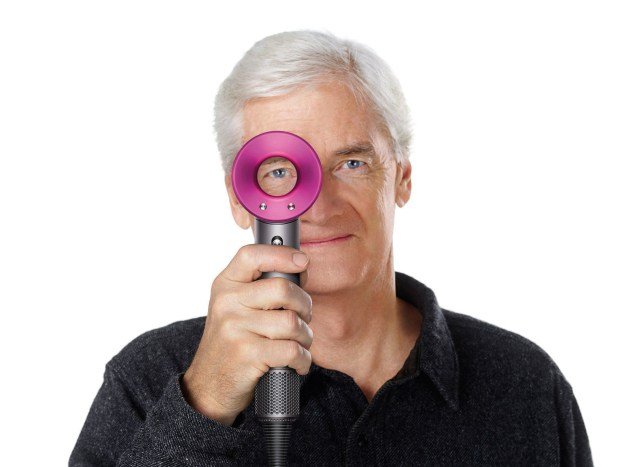 Undated Dyson handout image of Sir James Dyson with his company's new Supersonic hair dryer, which features its trademark bladeless fan. PRESS ASSOCIATION Photo. Issue date: Wednesday April 27, 2016. The British company said it had invested almost £50 million in the £300 hair dryer, which it claims intelligently protects the hair and scalp from heat damage with a glass bead thermistor that measures the air temperature 20 times a second. See PA story CONSUMER Dyson. Photo credit should read: Dyson/PA Wire NOTE TO EDITORS: This handout photo may only be used in for editorial reporting purposes for the contemporaneous illustration of events, things or the people in the image or facts mentioned in the caption. Reuse of the picture may require further permission from the copyright holder.