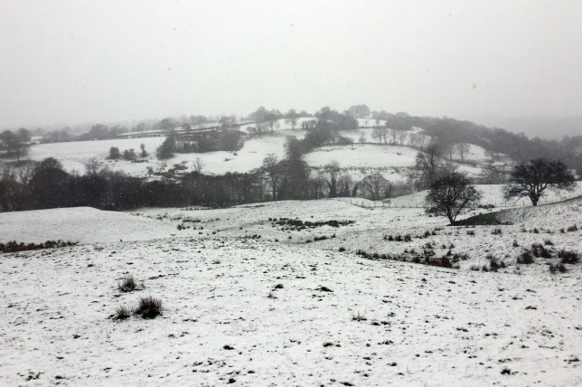 Snow in Blacko, East Lancashire as winter returns to the Yorkshire Dales as the May Bank Holiday gets off to a cold start. PRESS ASSOCIATION Photo. Picture date: Friday April 29, 2016. Photo credit should read: Lauren Brown/PA Wire