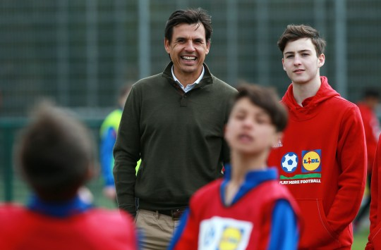 Chris Coleman joins pupils from Prestatyn High School and Olchfa School, Swansea at Dragon Park to launch the new Lidl Play More Football schools initiative. Dragon Park, Newport. Monday 18th April 2016.