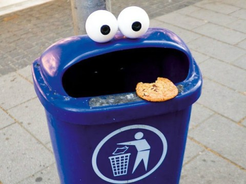 We applaud the visionary behind this cookie monster bin