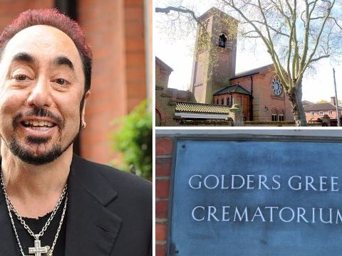 David Gest's celeb friends Kerry Katona and Kym Marsh arrive to say their goodbyes at his funeral