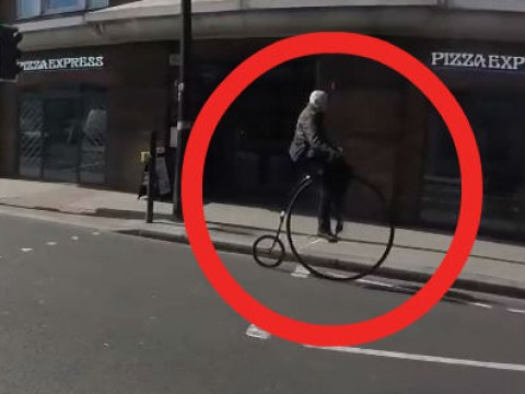 Penny farthing rider 'breaks law' in most British way possible