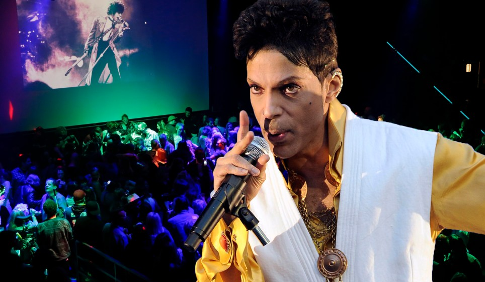 """April 21, 2016: Fans of music superstar Prince attending the dance party in celebration of his life at the nightclub First Avenue where much of the movie """"Purple Rain"""" was filmed in Minneapolis, Minnesota. Credit: Kamil Krzaczynski/INFphoto.com Ref: infusci-07"""