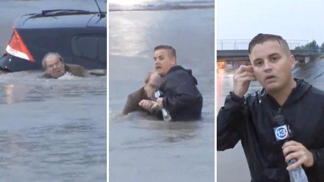 Reporter saves life of man in flooded car – continues reporting like a pro