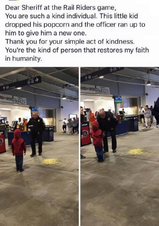 Little boy drops his popcorn in the cinema, police officer runs up to him and buys him another Credit: Lackawanna County Sheriffs Office