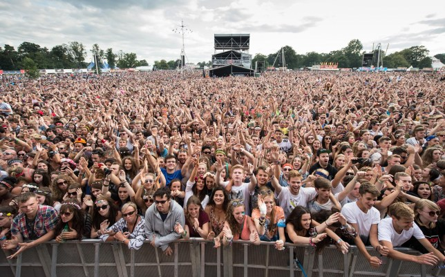 CHELMSFORD, ENGLAND - AUGUST 16: General view of the crowd on Day 1 of the V Festival at Hylands Park on August 16, 2014 in Chelmsford, England. (Photo by Ian Gavan/Getty Images)