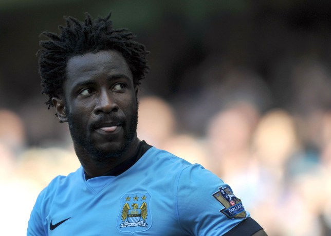 Manchester City's Ivorian striker Wilfried Bony reacts during the English Premier League football match between Manchester City and West Bromwich Albion at the Etihad Stadium in Manchester, north west England, on March 21, 2015. AFP PHOTO / STEVE PARKIN RESTRICTED TO EDITORIAL USE. NO USE WITH UNAUTHORIZED AUDIO, VIDEO, DATA, FIXTURE LISTS, CLUB/LEAGUE LOGOS OR LIVE SERVICES. ONLINE IN-MATCH USE LIMITED TO 45 IMAGES, NO VIDEO EMULATION. NO USE IN BETTING, GAMES OR SINGLE CLUB/LEAGUE/PLAYER PUBLICATIONS. (Photo credit should read steve parkin/AFP/Getty Images)