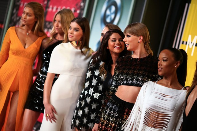 LOS ANGELES, CA - AUGUST 30: (L-R) Models Gigi Hadid, Martha Hunt, actresses Hailee Steinfeld, Cara Delevingne, actress/singer Selena Gomez, recording artist Taylor Swift and actress Serayah attend the 2015 MTV Video Music Awards at Microsoft Theater on August 30, 2015 in Los Angeles, California. (Photo by Christopher Polk/Getty Images)