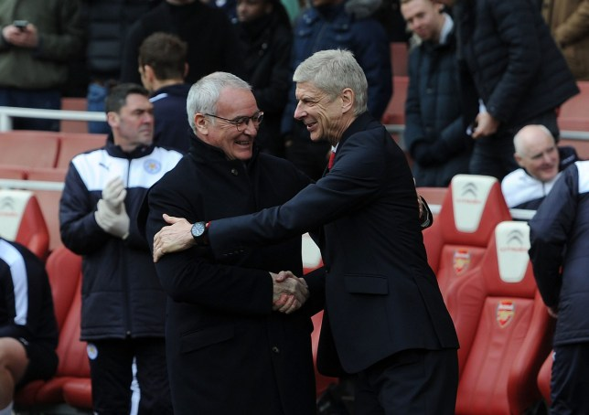 LONDON, ENGLAND - FEBRUARY 14: Arsene Wenger the Arsenal Manager shakes hands with Claudio Ranieri of Leicester before the Barclays Premier League match between Arsenal and Leicester City at Emirates Stadium on February 14th, 2016 in London, England (Photo by David Price/Arsenal FC via Getty Images)