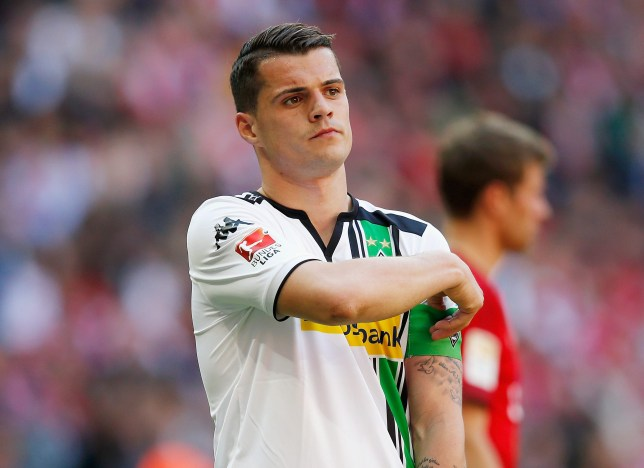 MUNICH, GERMANY - APRIL 30: Granit Xhaka of Borussia Moenchengladbach reacts during the Bundesliga match between Bayern Muenchen and Borussia Moenchengladbach at Allianz Arena on April 30, 2016 in Munich, Germany. (Photo by Boris Streubel/Getty Images)