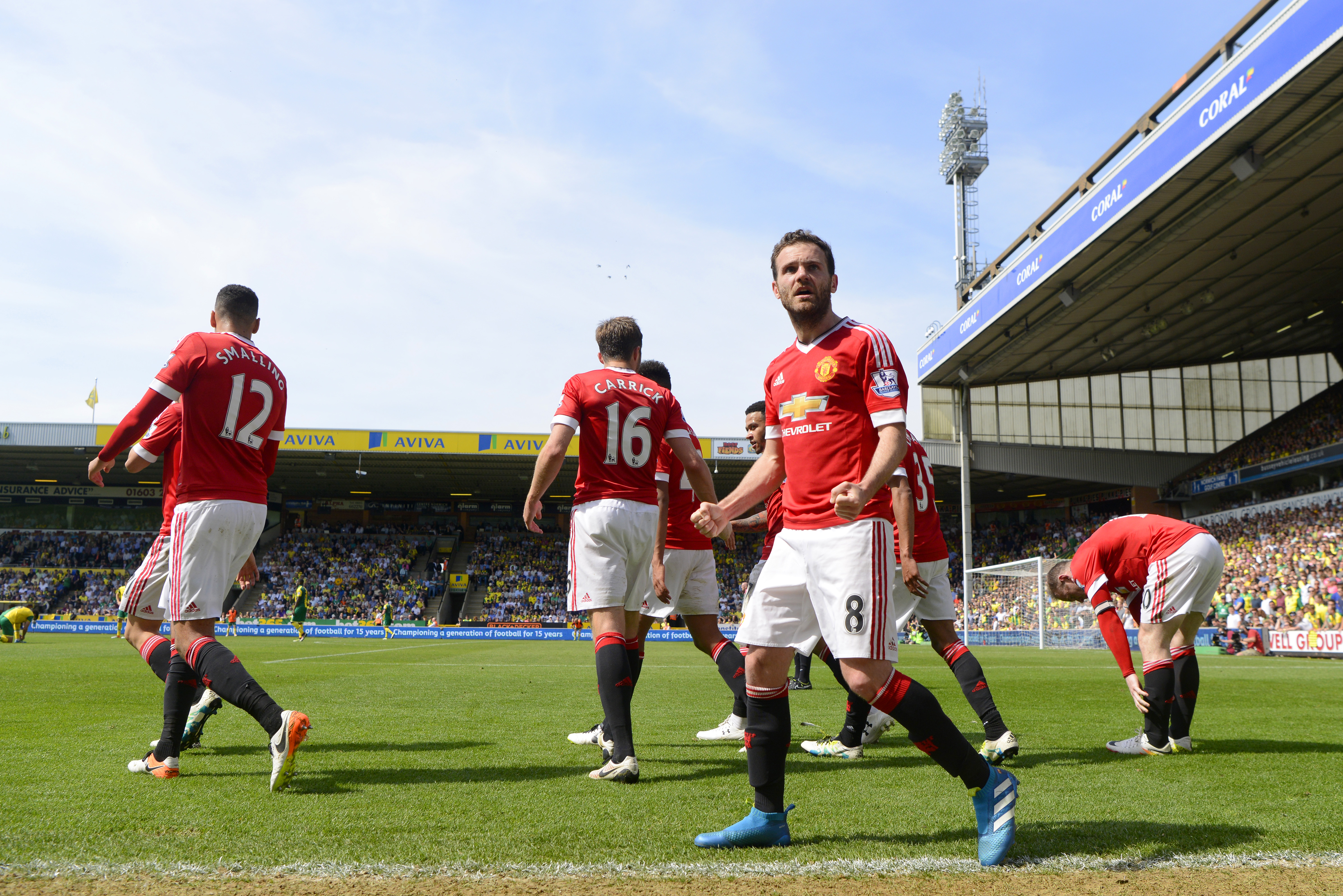 NORWICH, ENGLAND - MAY 07:  Juan Mata of Manchester United celebrates scoring his team's first goal during the Barclays Premier League match between Norwich City and Manchester United at Carrow Road on May 7, 2016 in Norwich, England.  (Photo by Mike Hewitt/Getty Images)