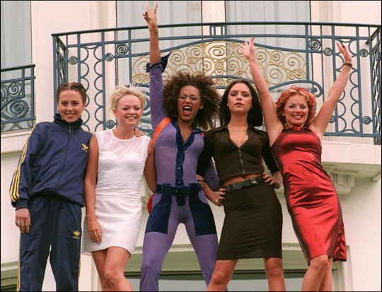 """Cannes, FRANCE: (FILES) The """"Spice girls"""" pose for photographers in front of Cannes Martinez Hotel 11 May 1997 as the 50th International Film Festival in Cannes goes on. Pop group the Spice Girls announced 28 June 2007 they are to reform for a world tour, saying """"girl power is back and stronger than ever,"""" in a statement posted on their website. AFP PHOTO BERTRAND GUAY (Photo credit should read BERTRAND GUAY/AFP/Getty Images)"""