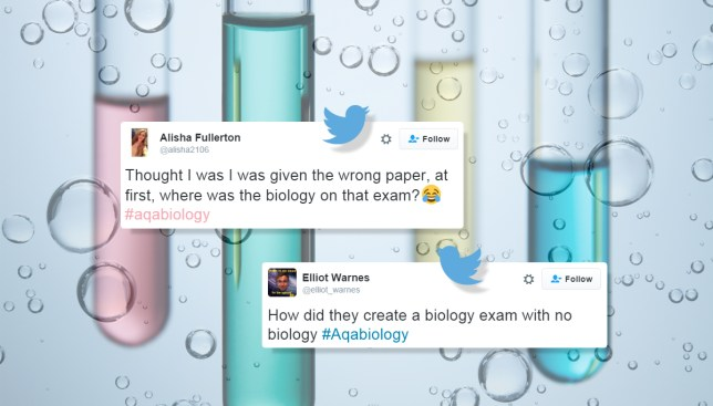 Fury over AQA biology exam that had 'no biology' in it Credit: Getty Images/Twitter/Metro