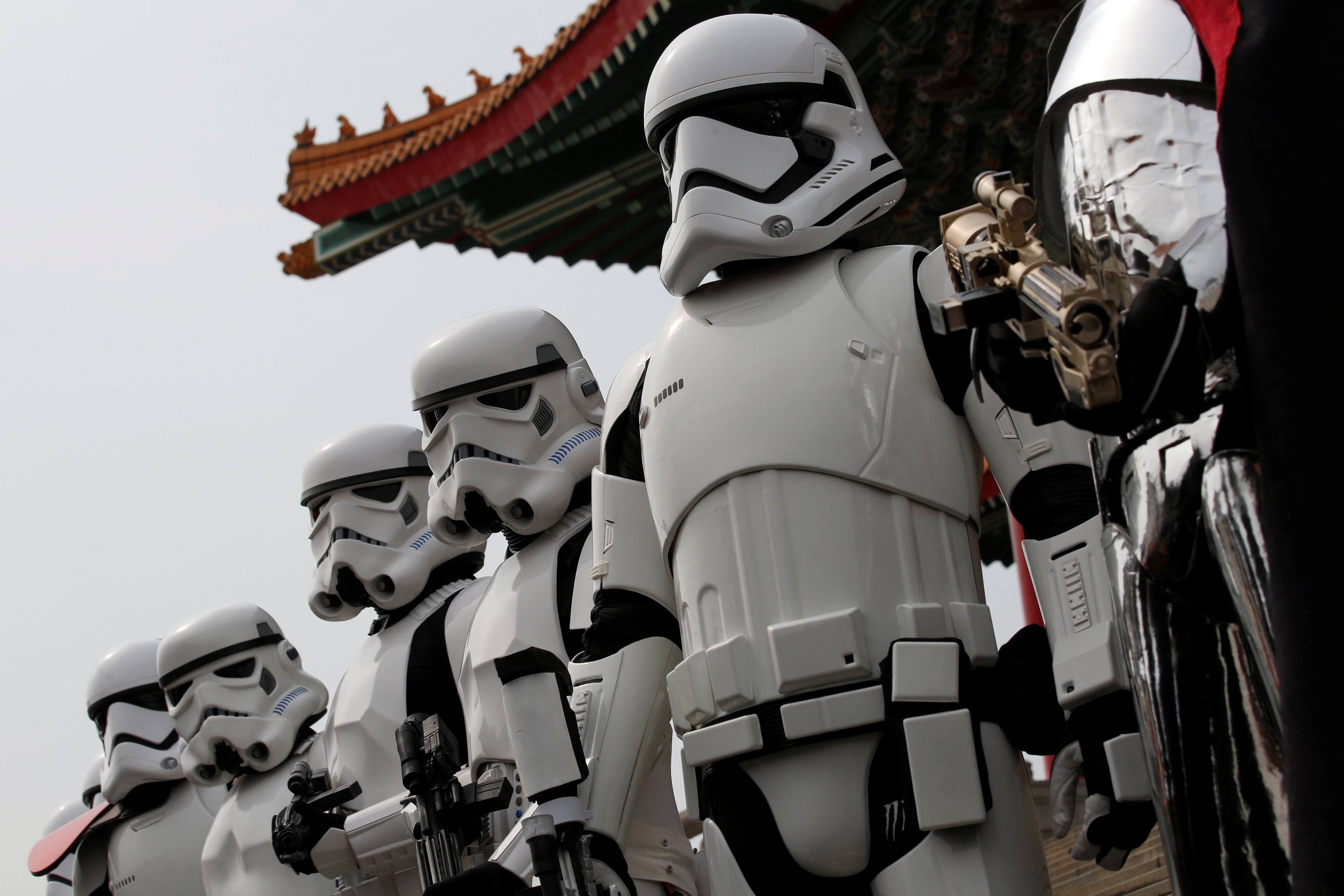 "Fans dressed as Storm Troopers from ""Star Wars"" pose for a photo during Star Wars Day in Taipei, Taiwan, May 4, 2016. REUTERS/Tyrone Siu"