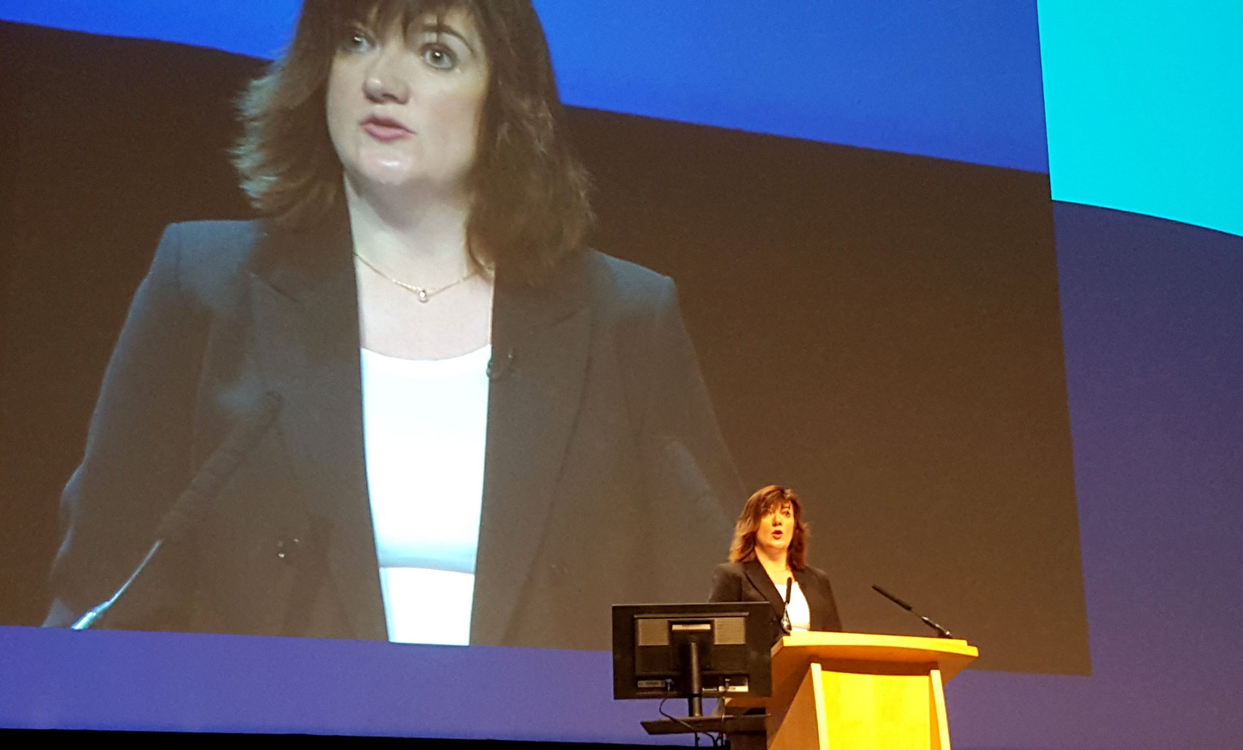 Education Secretary Nicky Morgan addresses the National Association of Head Teachers (NAHT) annual conference in Birmingham. PRESS ASSOCIATION Photo. Picture date: Saturday April 30, 2016. See PA story EDUCATION Sats. Photo credit should read: Harriet Line/PA Wire