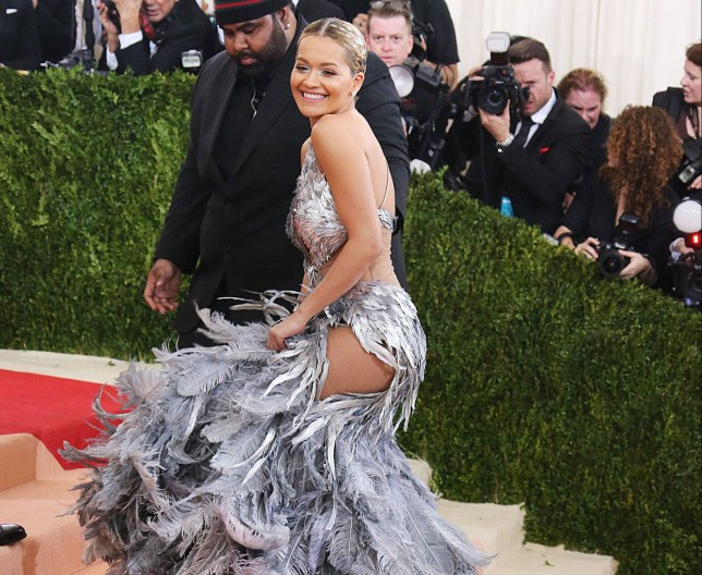 Rita Ora arrives at the 2016 Met Gala, Costume Institute Benefit at The Metropolitan Museum of Art celebrating the opening of Manus x Machina: Fashion in an Age of Technology. Splash News and Pictures