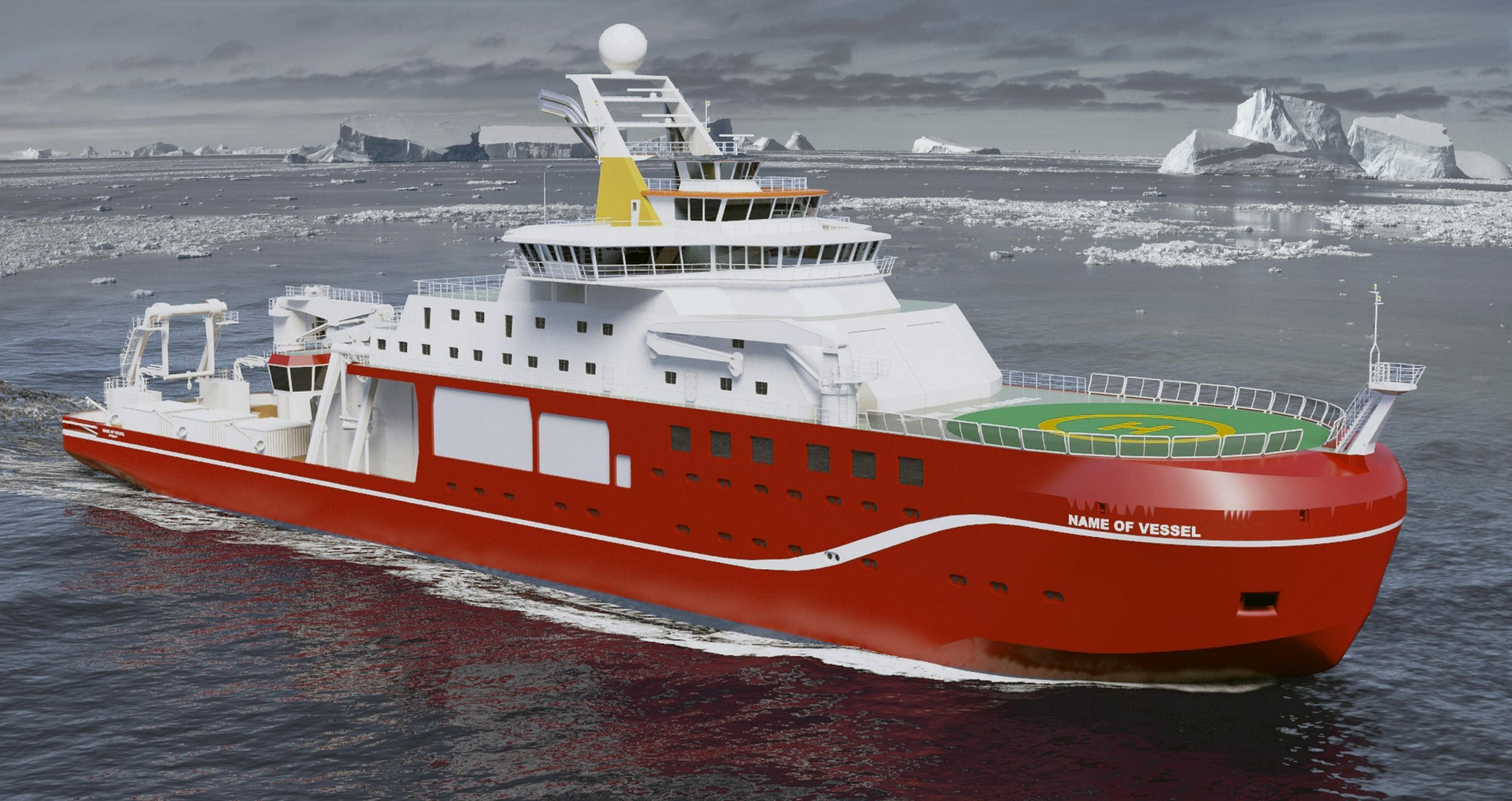 Undated handout artist impression issued by the Natural Environment Research Council (NERC) of a new state-of-the-art polar research ship as Boaty McBoatface has topped a poll over the name for the ship as the competition launched by the NERC closed. PRESS ASSOCIATION Photo. Issue date: Sunday April 17, 2016. The suggestion received 124,109 votes - more than three times that of its closest contender. See PA story SEA Antartic. Photo credit should read: NERC/PA Wire NOTE TO EDITORS: This handout photo may only be used in for editorial reporting purposes for the contemporaneous illustration of events, things or the people in the image or facts mentioned in the caption. Reuse of the picture may require further permission from the copyright holder.